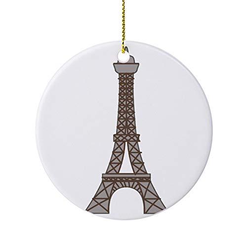 qidushop Novelty Christmas Decoration Paris Tour De Eiffel Christmas Ornaments Ceramic Round Christmas Tree Hanging Keepsake 3 Inches