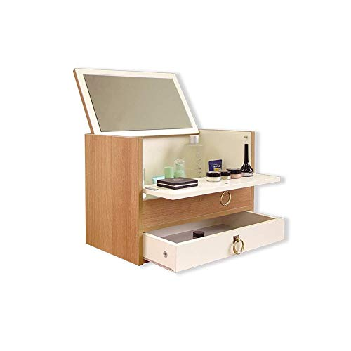 WZHZJ Tatami Mini Mirador cosmético Acabado Caja de Madera pequeña Caja de Maquillaje portátil Organizador Tabla Pequeño Apartamento