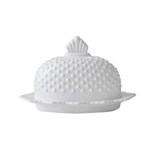 Recipiente para mantequilla Creativa de cerámica Caja de mantequilla Vajilla Europea con tapa blanca pura plato postre queso Mantequera caja de almacenamiento Mantequera con tapa