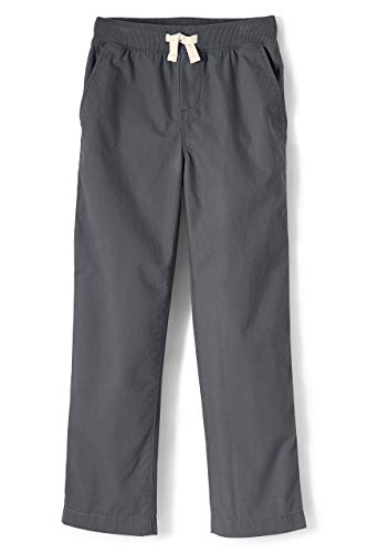 Lands' End Boys Iron Knee Pull On Plain Front Pant Cadet Gray Big Kid Small