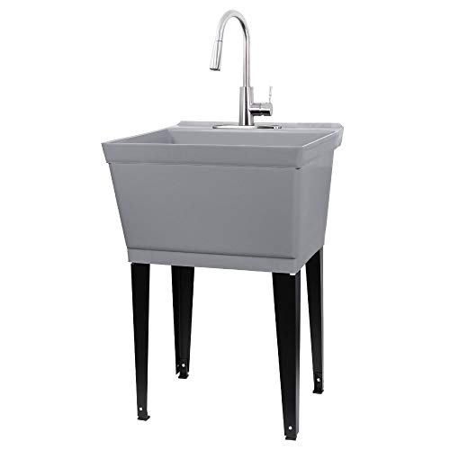 Laundry Sink Utility Tub With High Arc Stainless Steel Pull...