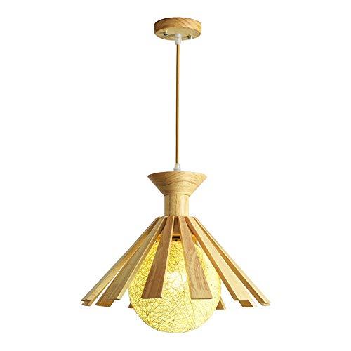 Yingying Japanse houten hangende lichte bevestiging, ronde stro-overkapping hangende lamp plafondbevestiging, in hoogte verstelbare lampenset voor café-bar-woonkamer
