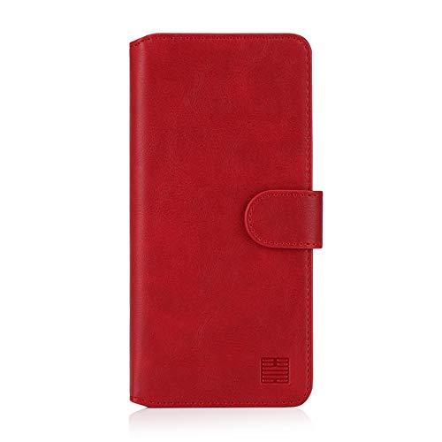 32nd Essential Series 2.0 - PU Leder Mappen Hülle Flip Hülle Cover für Samsung Galaxy A70 (2019), Ledertasche hüllen mit Magnetverschluss & Kartensteckplatz – Rot