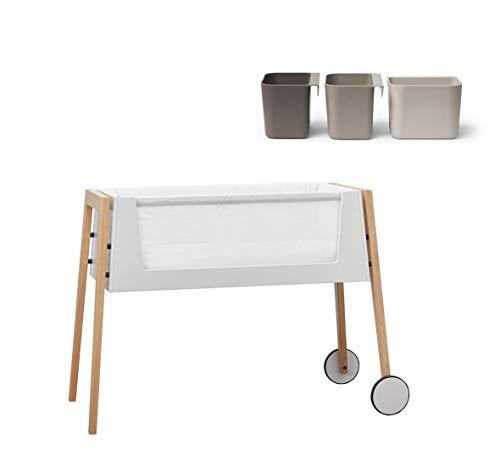 Ausstellungsstück Linea Side-by-Side Bett, Beistellbett mit Matratze und Nestchen, Beine aus: Eiche + 3 Boxen in cappuccino