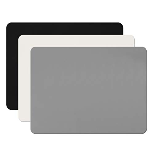 3 Pack Silicone Sheet for Crafts, Resin Jewelry Casting Molds Mat, Food Grade Silicone Placemat, Multipurpose Table Protector, Nonstick Nonskid Heat-Resistant, Black & Gray & Beige (15.7 x 11.8 inch)