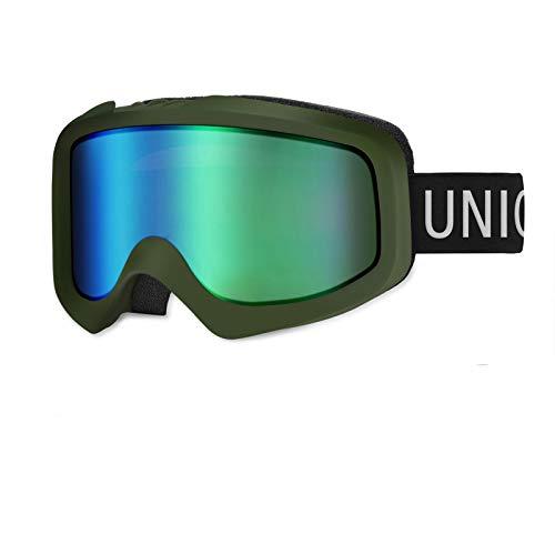 Unigear Lunettes de Ski, Skido X1 Lunettes de Snowboard Cylindrique Anti-buée, Ski Goggles Anti-UV411 Système de Ventilation Adapté pour Les Activités Ski Snowboard pour Adultes