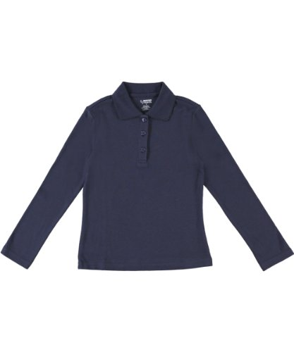 French Toast Big Girls' L/S Fitted Knit Polo With Picot Collar - navy, 14/16