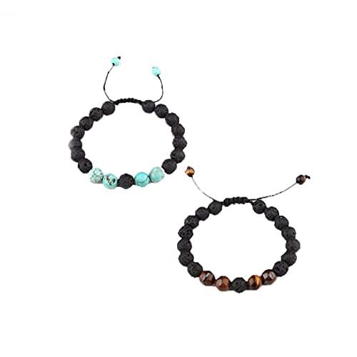 2pcs Unisexe Réglable Bracelet Diffuseur En Pierre De Lave Méditation De Guérison Pierres Volcan Naturel Bracelets
