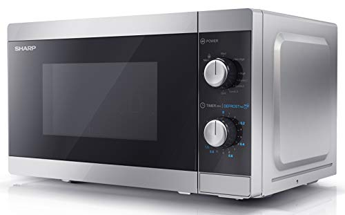 SHARP YC-MG01Us - 800W 20L Microwave with Grill, Electronic control, 11 Power Levels, Silver
