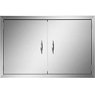 """Mophorn Outdoor Kitchen Access 30.5""""X 21"""" Wall Construction Stainless Steel Flush Mount for BBQ Island, 30.5inch x 21inch, Double Door"""
