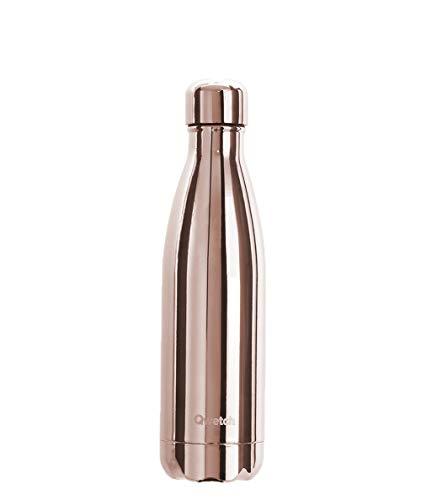 QWETCH - Bouteille Isotherme INOX 500ml - Maintient Vos Boissons au Chaud Pendant 12 Heures & au Frais Pendant 24 Heures – BPA Free -Métal Rose Gold