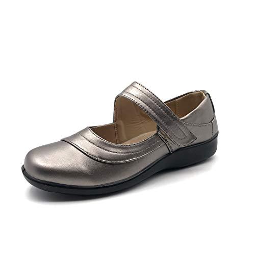 Angkorly - Zapatillas Moda Sandalias Mary Jane Senior Estilo ortopedico Planos Mujer Velcro tacón Plano 3 CM