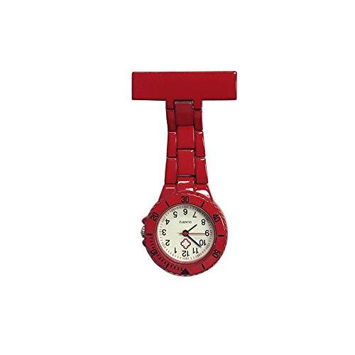 HYY-YY. Krankenschwester-Uhr-Brosche Krankenschwester Revers Pin-Uhr-Clip-on Hanging Medical Taschen-Uhr-Mann-Frauen-Quarz-hängender Doktor Taschenuhr Sporter Taschenuhr (Farbe: rot) (Color : Red)