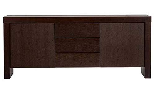 mds Kobe, Buffet résolument Moderne, d'une capacité de Rangement impressionnante. - Kobe Buffet 2 Portes, 3 tiroirs, 188 x 45 x 79 cm - Chocolat