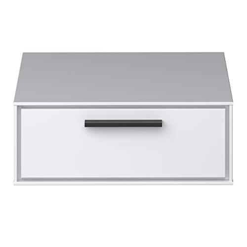 Steens Slimline nachtkastje voor wandmontage met een lade in mdf, zuiver wit, naar wens verstelbaar
