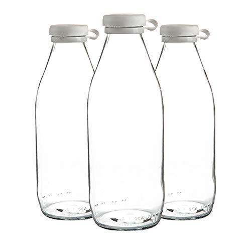 Argon Tableware Botellas de vidrio de leche con tapa de silicona - nevera grande de almacenamiento garrafa Decanter - 1 Litro - Pack de 3