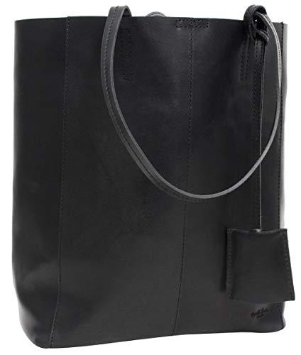 Gusti Handtasche Leder Damen Herren groß - Cassidy Shopper Ledertasche Umhängetasche 13L Tasche schwarz