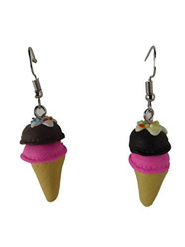Ohrringe Ohrhänger Hänger handgemacht Eis Waffel Schokolade Erdbeere Sommer Eisdiele Cafe 7580