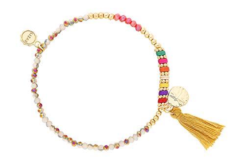 Lizas - Bracciale di perle colorate, diversi modelli e sintetico., colore: Beige/colorato con nappa., cod. Lizasbunt