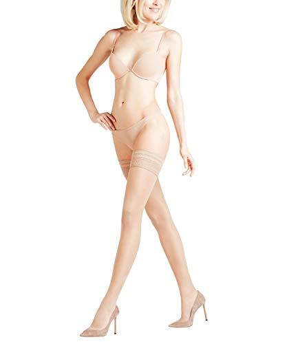 FALKE Damen Stay Ups Seidenglatt 15 Denier - Transparente, Leicht Glänzend, 1 Paar, Beige (Cocoon 4859), Größe: L