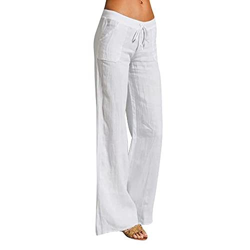 IZYJOY Women's Summer Cotton Linen Casual Yoga Long Pants High Waist Drawstring Loose Fit Casual Trousers with Pockets (White, Large)