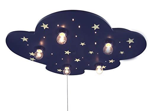 Niermann Standby 642 Deckenleuchte Wolke EEK E, blau XXL, mit floureszendierenden Sternen (5x E14 max. 40 Watt + 20 x 0,18 Watt LED Lichtpunkte, 54 x 74 x 8 cm, Zugschalter für Schlummerlichtfunktion)