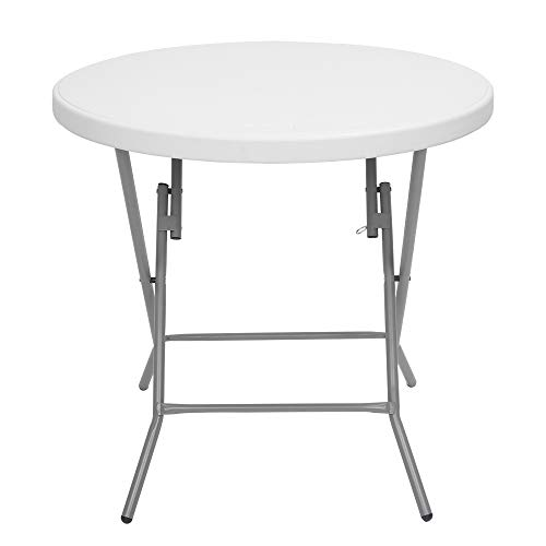 Bonnlo 32 inch Folding Round Table, Portable Plastic Coffee Card Dining Table for Kitchen or Outdoor Event,White Granitev