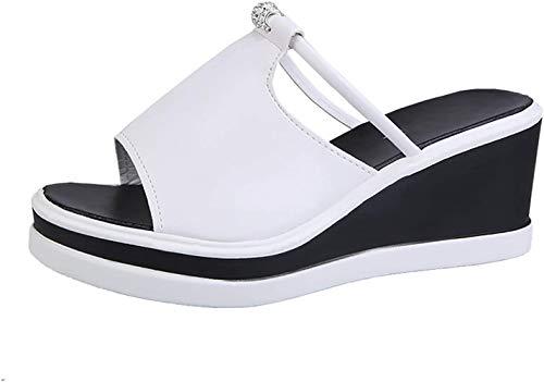 Sandalias De Tacón Alto Las Mujeres Ladera De Fondo Grueso Tacón Boca De Pescado Zapatos De Fondo Plano De,Blanco,37