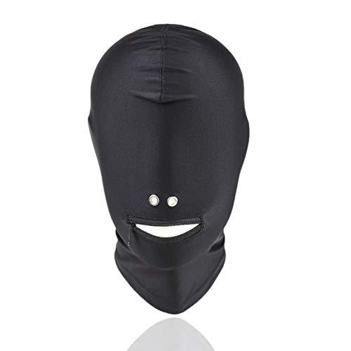 Negro Super Stretch Cloth Masquerade Fosa Nasal con Fugas Boca Cremallera Sombrero de Juguete para Mujeres