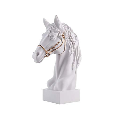 Estatuas Resina caballo estatua ornamento coleccionable artesana, mobiliario para la decoracin del hogar sala de estar oficina mesa de escritorio mesa de escritorio gabinete de vino regalo, blanco E