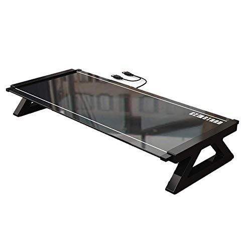 Monitor soporte vertical, Transferencia de vidrio templado USB3.0 Soporte de datos y carga, teclado Ratón almacenamiento Organizador de escritorio Negro soporte de ordenador portátil ( Color : Black )