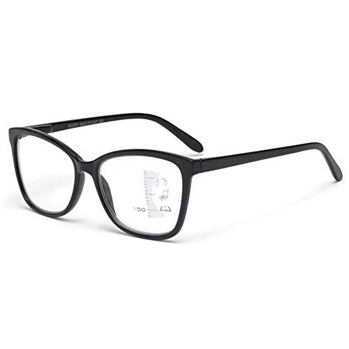 FACAIA Progressive Multi-Focus-Lesebrille Anti Blue Ray UV400-Lesebrille für nah und fern Zoom Intelligente Brille Anti-Ermüdungs-Computer-Lesebrille, Schwarz, 1,00