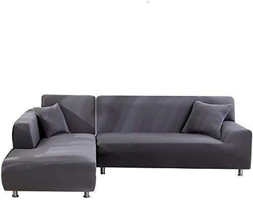 Copridivano con Penisola Elasticizzato Chaise Longue Copridivano Angolare Antimacchia Sofa Cover componibile in Poliestere a Forma di L 2PCS, Federe Protettive per Divano(Grigio,3 Posti+3 Posti)