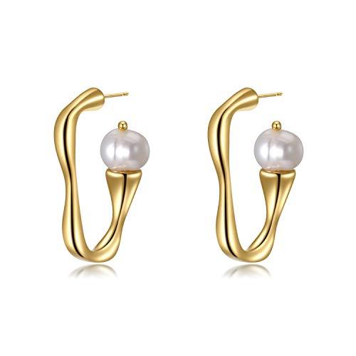 Irregulär Halber Reifen Perlen 925 Silber 14K Gelbgold Ohrringe Ohrhänger Schöne Damen Geschenk Urlaub
