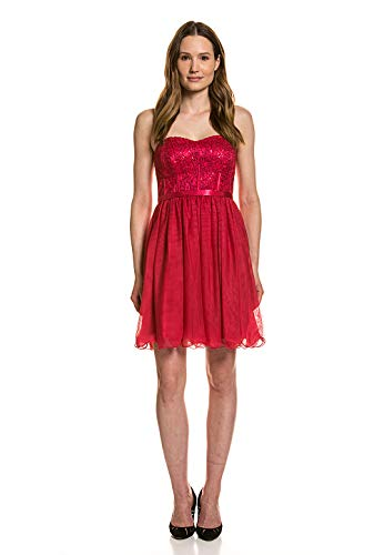 Vera Mont Party-Kleid Summer Statement Abendkleid Ballkleid glitzerndes Cocktailkleid für Damen Rot, Größe:36