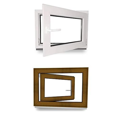 Kellerfenster - Kunststoff - Fenster - innen weiß/außen golden oak - BxH: 50 x 40 cm - 500 x 400 mm - DIN Rechts - 2 fach Verglasung - 60 mm Profil