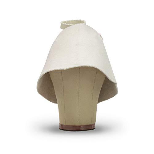 LoFelt® Saunahut - Filzhut für Damen und Herren inkl. Sauna-Ratgeber - Ideales Sauna Zubehör für ein einzigartiges Wellness Erlebnis - Farbe weiß - Saunamütze Saunakappe
