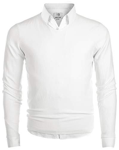 MOCOTONO Men's V-Neck Long Sleeve Pullover Casual Sweater White