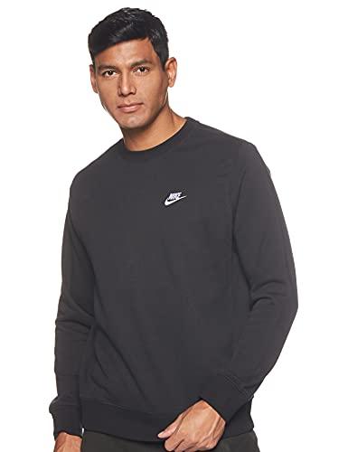 Nike Herren Sportswear Club French-Terry-Rundhalsshirt, Black/White, L