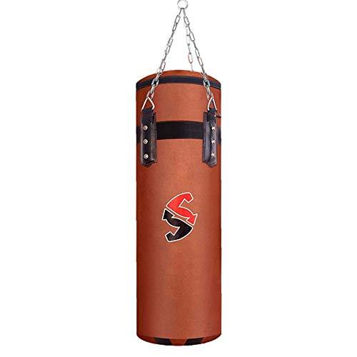 YJHH Schwer Boxing Boxsack Erwachsene Kinder Hangend, Ungefüllt Braunem Leder Punching Bag Freistehender Für Boxtraining Fitness Sandsack,150cm