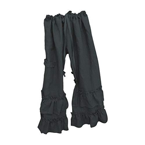 Pantalones Anchos Pierna Mujeres más sólidas de algodón de Lino Folds Casual Pantalones con Volantes Bolsillo Suelto Pierna Ancha Pantalones Pantalones de Campana Bottom (Color : Navy, Size : L)