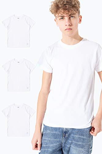 hype - Camiseta para niños (3 unidades), color blanco