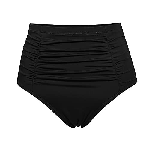 DOBREVA Bragas Bikini Vendimia Cintura Alta Bañador Braguitas Tankini para Mujeres Negro 38