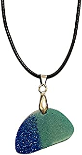 AGA Glitter Detail Half Moon Shaped Handmade Resin Pendant Necklace - Blue and Teal