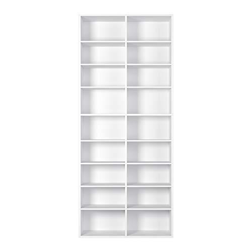 Homfa Estantería para CDs y DVDs Librería Estantería Librería de Pared Ajustable para Libros con 18 Cubos Blanco...