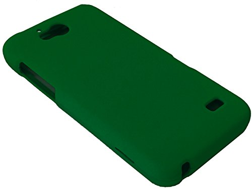 for Straight Talk ZTE Atrium Z793C Scend LTE Z791 Hard Snap On Protector Phone Cover Case + Happy Face Phone Dust Plug (Dark Green)