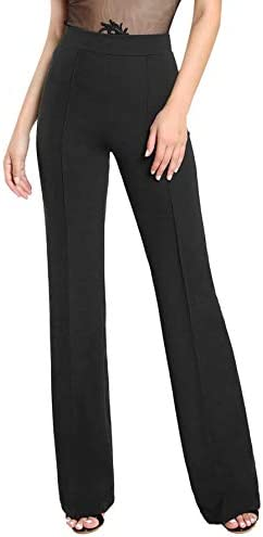SOLY HUX Women s High Waisted Straight Leg Long Pants Trousers Black L product image