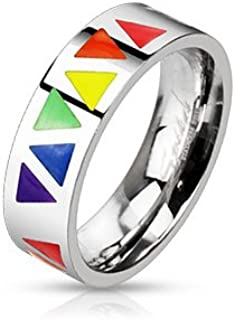 Jinique STR-0052 Stainless Steel Multi Rainbow Triangles Band Ring