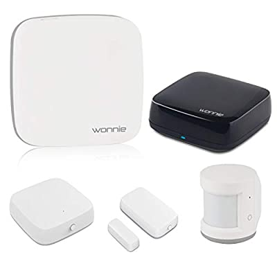 WONNIE WiFi Home Security System 5 Piece Kit with 24/7 Professional Home Monitoring, Work with Alexa and Google Assistant, Motion Sensor/T&H Sensor/Door and Window Sensor/Gateway/Smart IR Remote