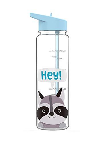 UKAP Botella de agua portátil de 25 oz de plástico sin BPA, sin fugas, con pajita, 720 ml